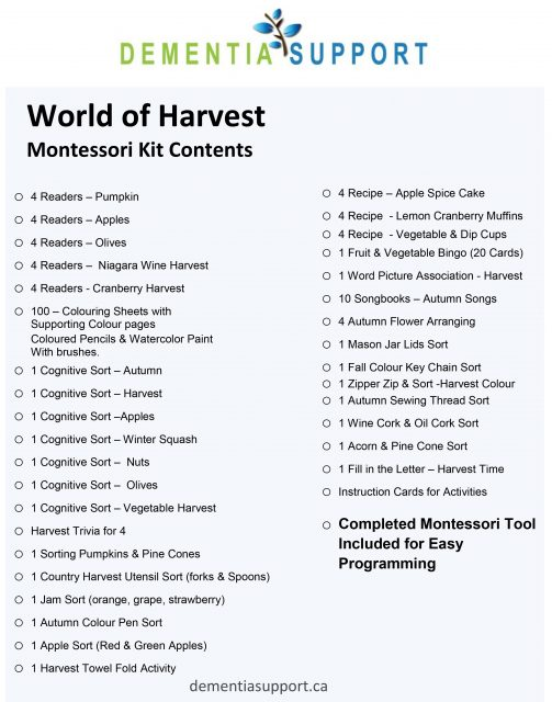 Montessori Kit Contents - World of Harvest SAMPLE